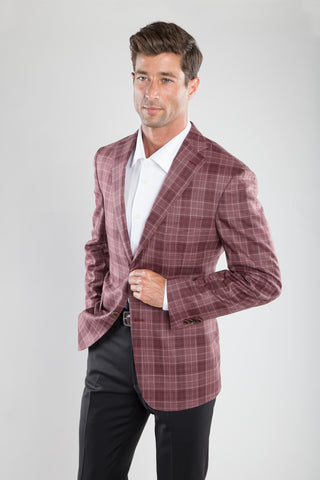 Cranberry Berry Plaid Sport Coat