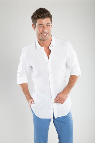 White Soft Linen Sport Shirt