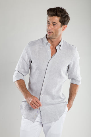 Ash Gray Soft Linen Sport Shirt