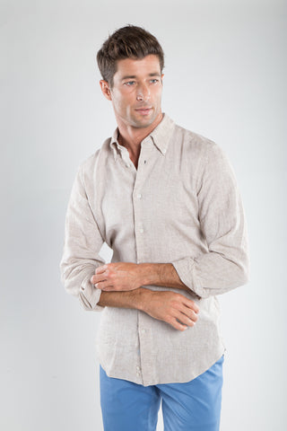 Tan Soft Linen Sport Shirt