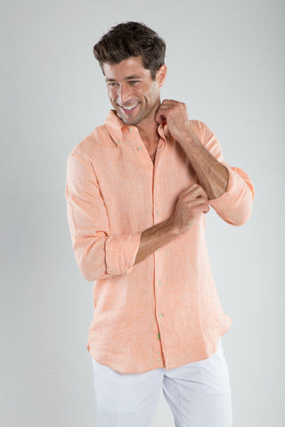 Orange Soft Linen Sport Shirt
