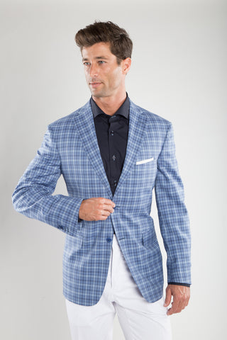 Indigo Blue Buffalo Check Sport Coat