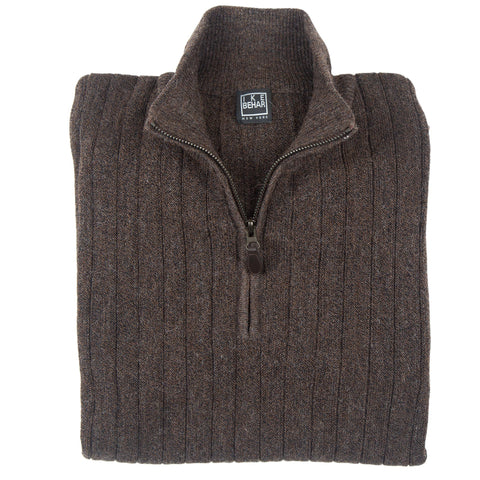 1/4 Zip Mock Heathered Brown Sweater