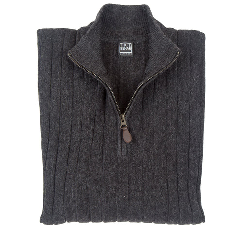 1/4 Zip Mock Heathered Charcoal Sweater