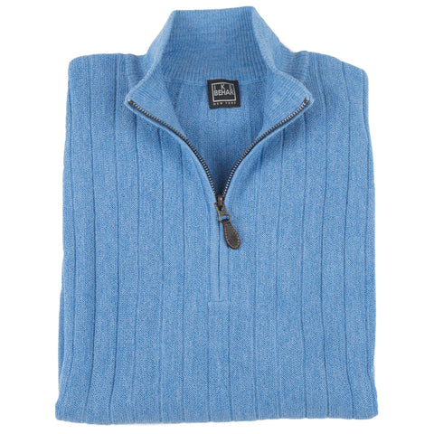 1/4 Zip Mock Coastal Blue Sweater