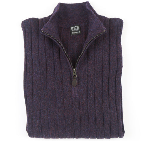 1/4 Zip Mock Heathered Plum Sweater