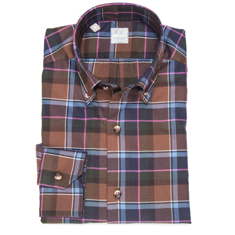 Crawford Brown Navy Pink Plaid