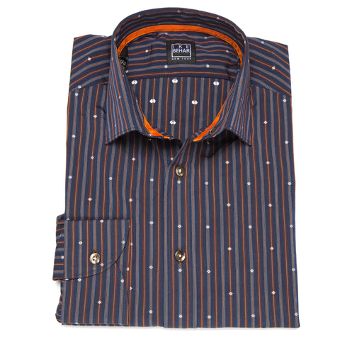 Ricky Navy Rust Antique Stripe