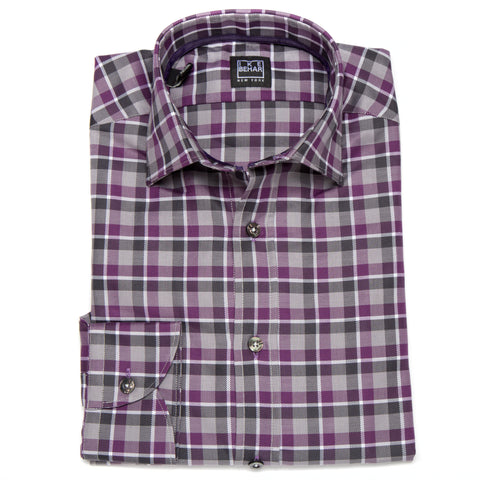Ricky Grey Plum White Plaid