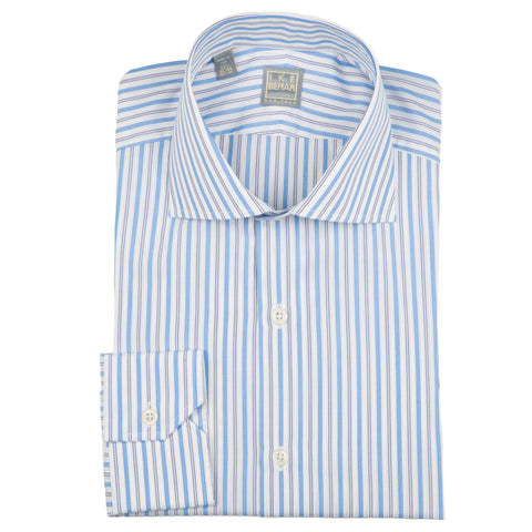 Milano Blue Satin Stripe Dress Shirt