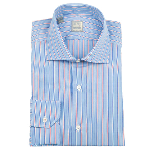 Milano Mid Blue Red Stripe Dress Shirt