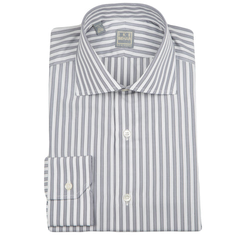 Milano Gray Black Stripe Dress Shirt