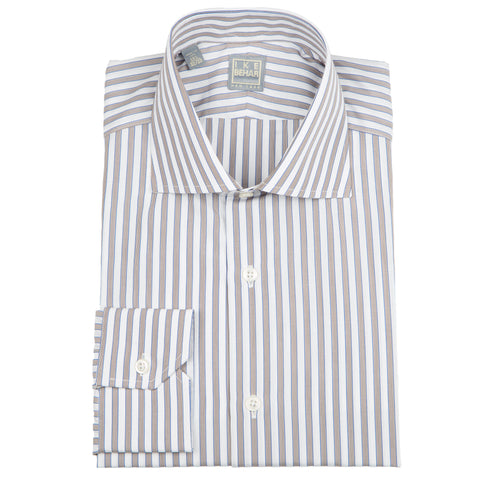 Milano Taupe Blue Stripe Dress Shirt