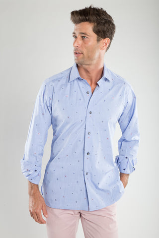 Ricky Embroided Light Blue Sport Shirt