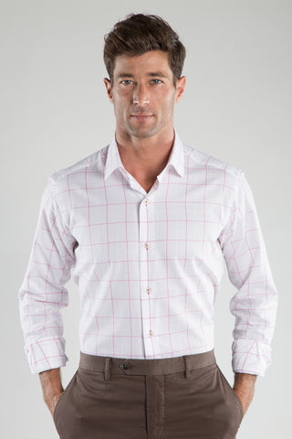 Ricky Pink Window Pane Sport Shirt