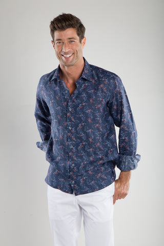 Sky Red Floral Sport Shirt