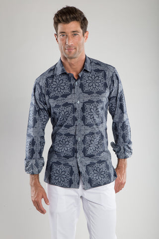 Ricky Navy Ground Bandana Sport Shirt