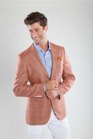 Burnt Orange Window Pane Sport Coat