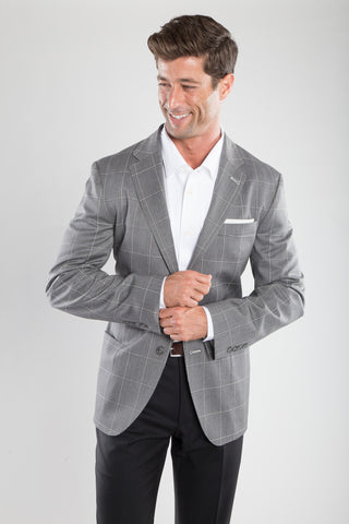 Pearl Grey Window Pane Sport Coat