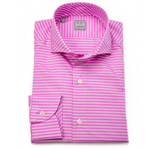 Chris Pink White Horizontal Stripe Shirt