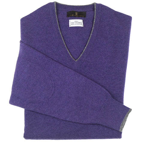 V-Neck Purple Scottish Cashmere Sweater