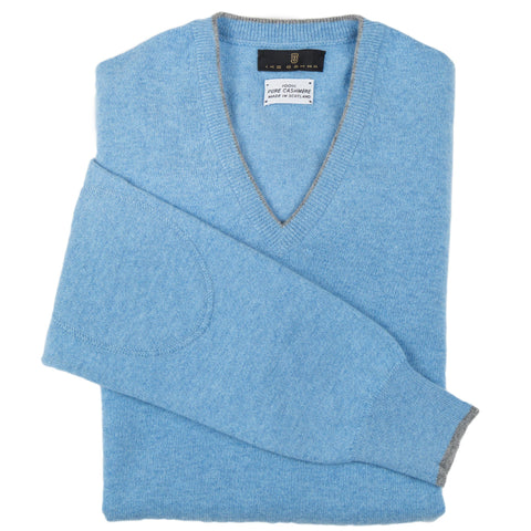 V-Neck Light Blue Scottish Cashmere Sweater