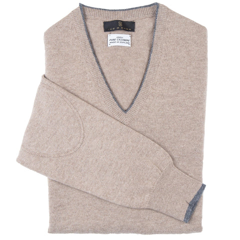 V-Neck Tan Scottish Cashmere Sweater