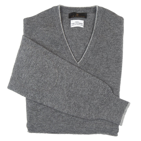 V-Neck Grey Scottish Cashmere Sweater