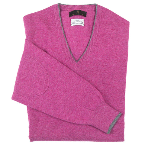 V-Neck Raspberry Scottish Cashmere Sweater
