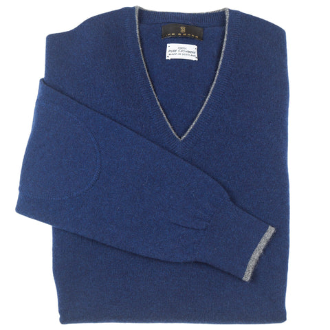 V-Neck Navy Scottish Cashmere Sweater