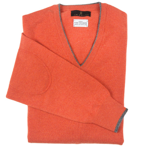 V-Neck Rust Scottish Cashmere Sweater