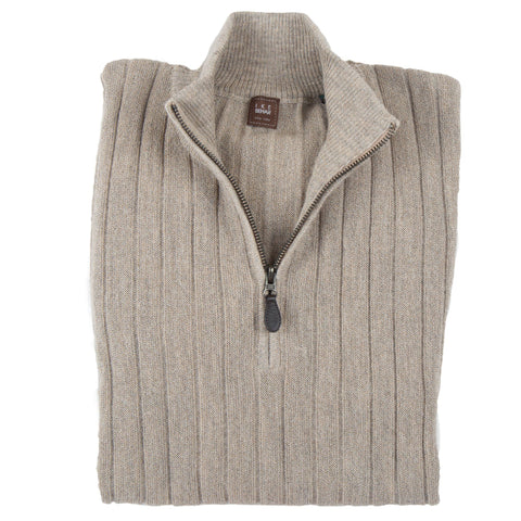 1/4 Zip Mock Sand Sweater