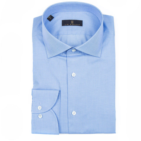Milano Sky Blue Mini Houndstooth Dress Shirt