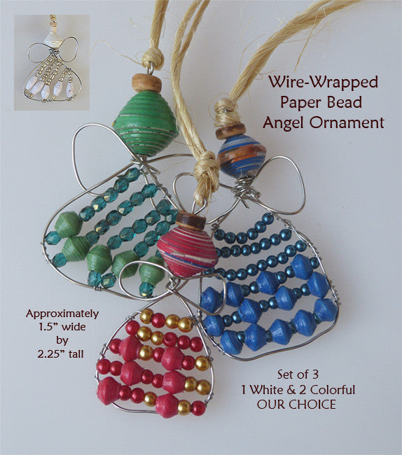 Ornament Set - Paper - Wire Wrapped Angel