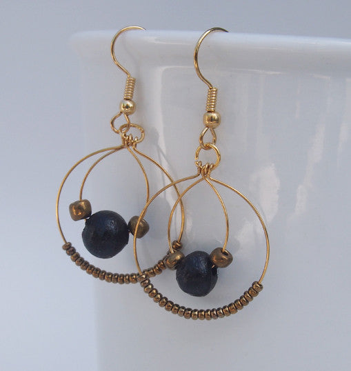 Earrings - Ceramic - Double Hoop - Various colors
