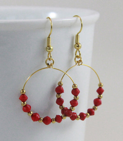 Earrings - Paper - Tiny Paper Beads - GoldenHoop - Various Colors