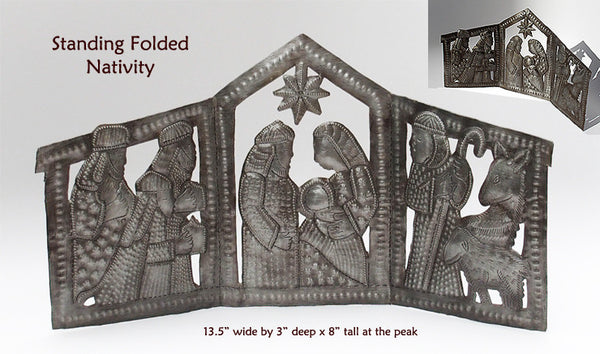 Nativity -  Metal - .Standing Folded Nativity