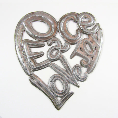 *Wall Art - Metal - Peace-Love-Joy Heart