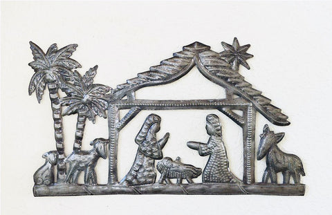 Nativity - Metal - with Palm Trees