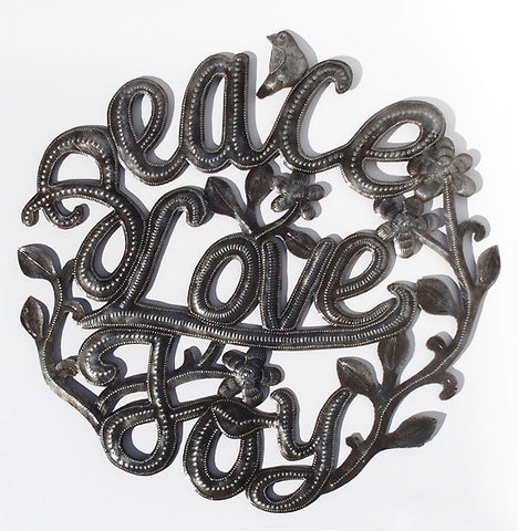 Wall Art - Metal - Peace Love Joy (Round)