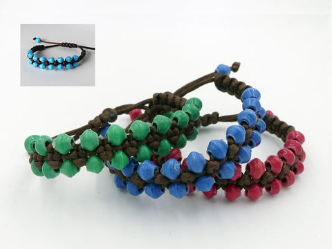 Bracelet -  Paper - Adjustable Macrame - Various Colors