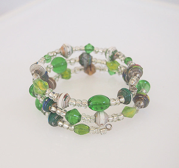 Bracelet -  Paper & Glass - Wire Wrap - Various Colors