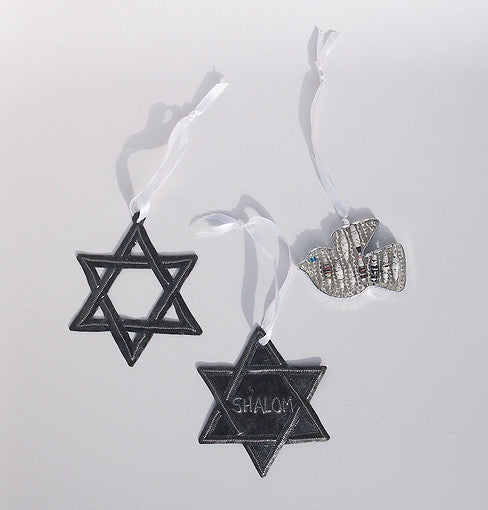 Ornament Set - Metal & Paper - Shalom