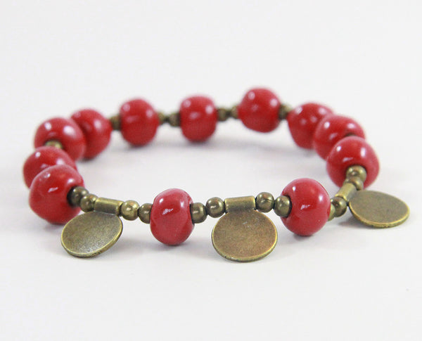 "Bracelet - Ceramic with Golden Charms - ""Leah"" - Variety of Colors"