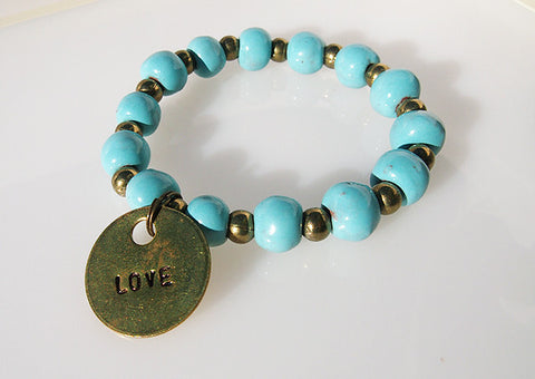 Bracelet - Ceramic with Love Charm - Various Colors