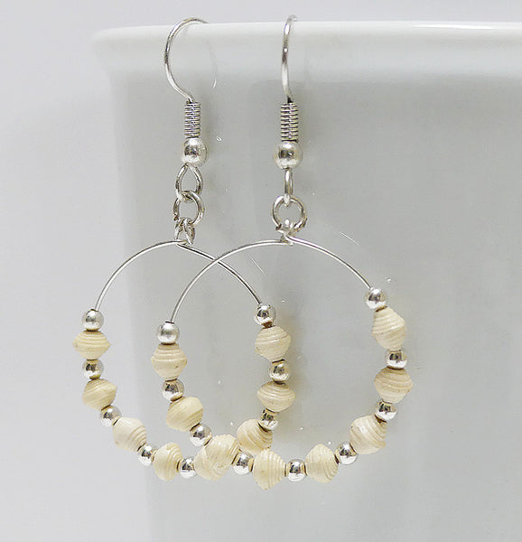 Earrings - Paper - Tiny Paper Beads - SILVERColored-Hoop - Various Colors