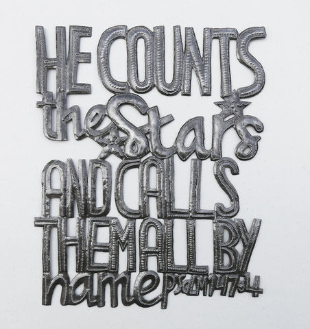 Wall Art - Metal - He Counts the Stars & Calls them by Name - Psalm 47:4