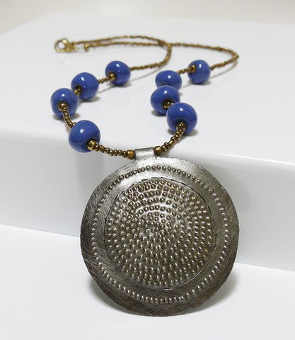 Necklace - Metal & Ceramic -  Medallion - Short