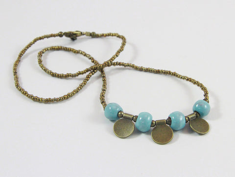 "Necklace - Ceramic with Golden Charms - ""Leah"" - Variety of Colors"