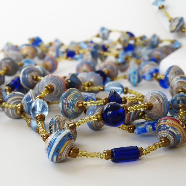 Necklace - Paper & Glass - LONG - Various Colors